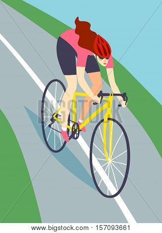 Dynamic racing cyclist riding down the road. Fast road biker woman . Editable vector illustration.