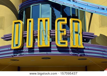 An art deco American Diner restaurant sign