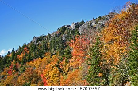 colorful autumn foliage covers the hillside in western North Carolina