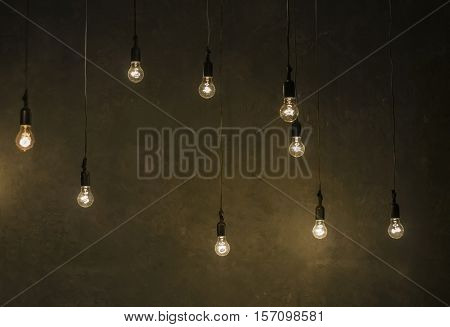 LED bulbs imitates filament electrical lamp with glowing filament