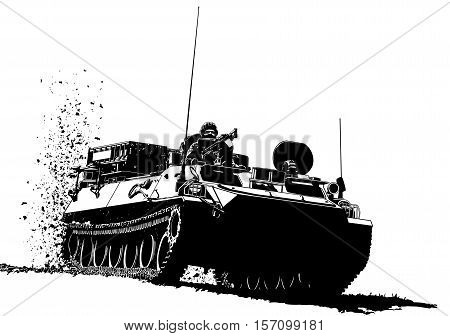 Armored personnel carrier military vehicle illustration art vector.