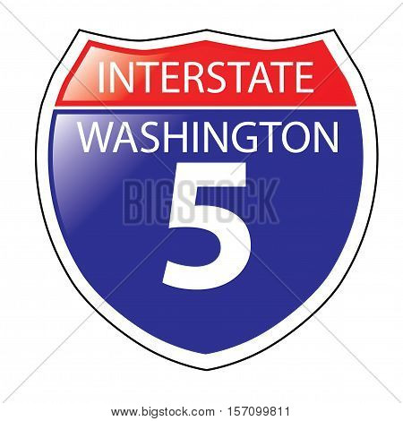 Layered artwork of Washington I-5 Interstate Sign
