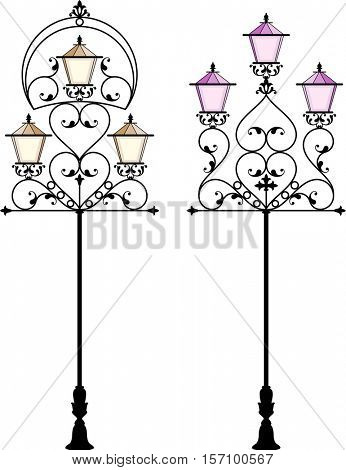 Wrought Iron Street Lamp Post Vector Illustration