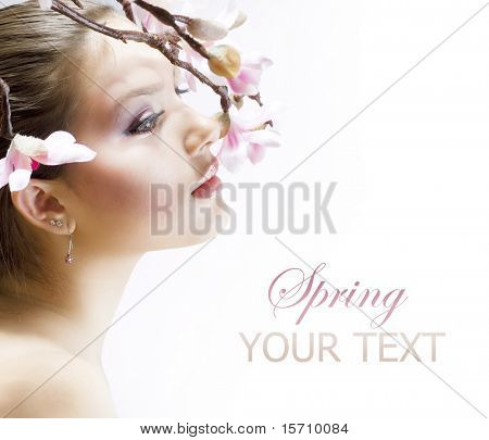 Beautiful Fresh Spring Woman with flowers over white