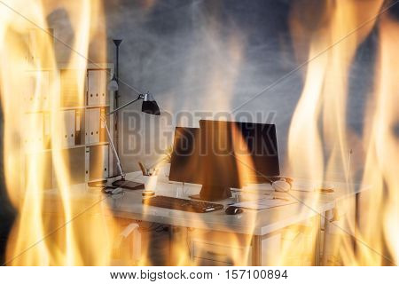 Close-up Of Fire Burning Inside The Office Cabin