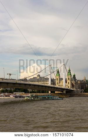 White Elisabeth bridge in Budapest, Hungary, over the Danube river