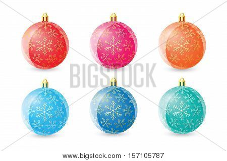 Set Of Colored Christmas Balls On White Background