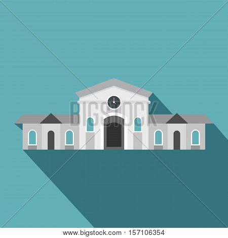 Railway station building icon. Flat illustration of railway station building vector icon for web design