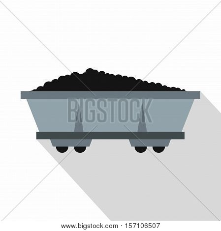 Coal trolley icon. Flat illustration of coal trolley vector icon for web design