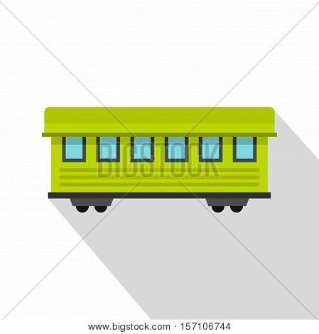 Passenger train car icon. Flat illustration of passenger train car vector icon for web design