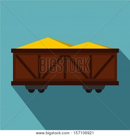 Train cargo wagon icon. Flat illustration of cargo wagon vector icon for web design
