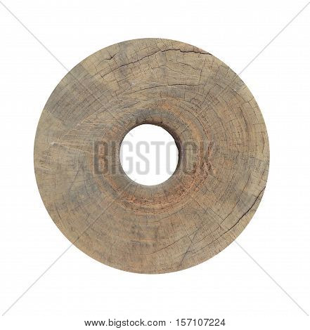 Wooden donut isolated on white background with clipping path.
