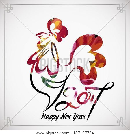 Year 2017 of rooster chinese new year design graphic line art sketch of cock with red watercolor fill. Vector illustration of rooster, symbol 2017 Chinese calendar.