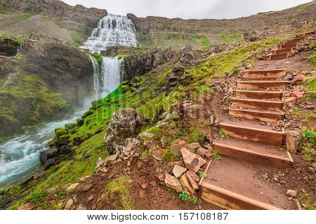 Mountain Path Leading To The Waterfall In Iceland