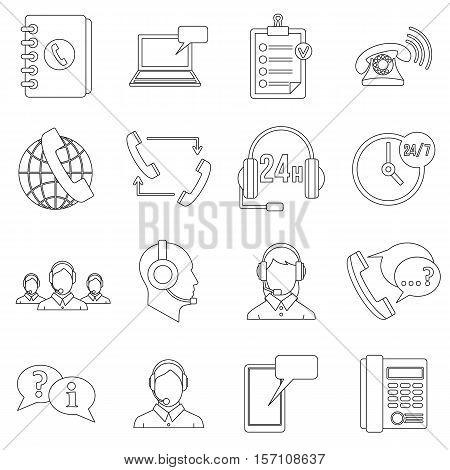 Call center symbols icons set. Outline illustration of 16 call center symbols vector icons for web