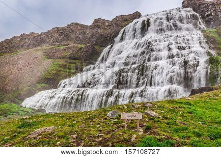 Big Waterfall Dynjandi In Iceland In Summer
