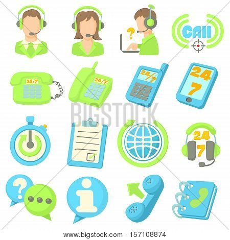 Call center items icons set. Cartoon illustration of 16 call center items vector icons for web