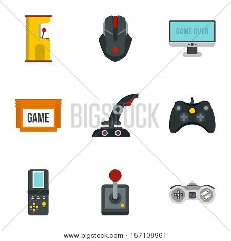 Game online icons set. Flat illustration of 9 game online vector icons for web