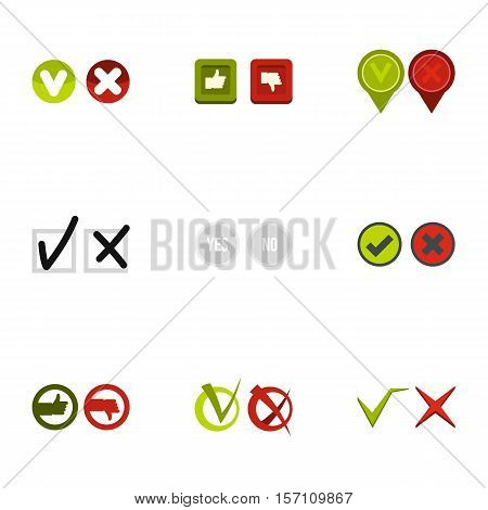 Tick icons set. Flat illustration of 9 tick vector icons for web