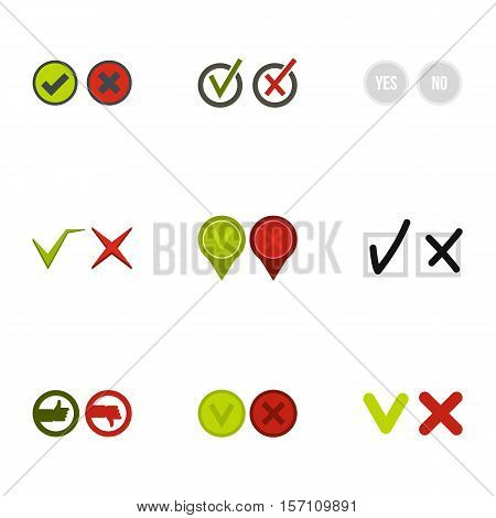 Cross and tick icons set. Flat illustration of 9 cross and tick vector icons for web