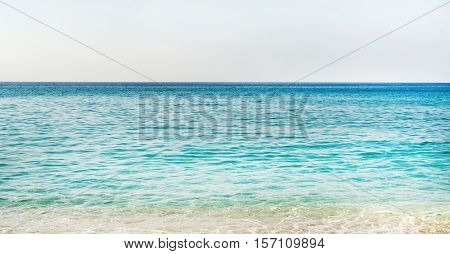 All shades of marine blue. Turquoise clear blue sea water of Mediterranean sea at Cleopatra beach in Alanya, Antalya region, Turkey coast. Gradient of blue at Turkish Riviera