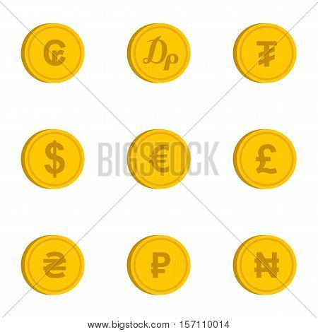 Currency icons set. Flat illustration of 9 currency vector icons for web