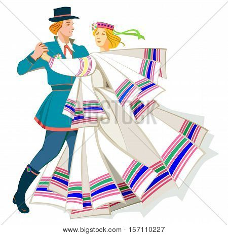 Card with couple dancing Baltic folk dance, vector cartoon image.