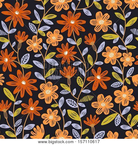 Colorful seamless pattern with orange flowers on dark background. Vector floral wallpaper