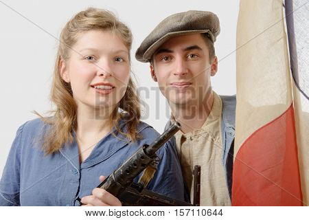 young couple of french resistant to the Paris liberation in 1944 poster