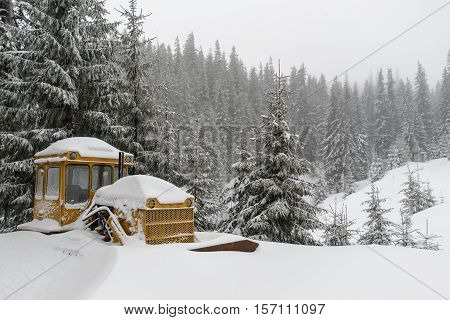 Yellow bulldozer stuck in a snowdrift in mountains. Fogy weather and frozen pine trees around.