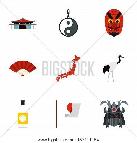 Japan icons set. Flat illustration of 9 Japan vector icons for web