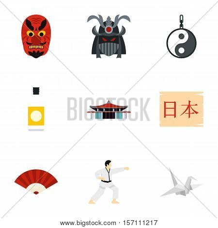 Attractions of Japan icons set. Flat illustration of 9 attractions of Japan vector icons for web