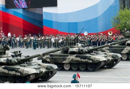 MOSCOW - MAY 6: Main battle tank T-90 in the Dress rehearsal of Military Parade on 65th anniversary of Victory in Great Patriotic War on May 6, 2010 on Red Square in Moscow, Russia