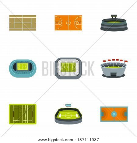 Game at stadium icons set. Flat illustration of 9 game at stadium vector icons for web