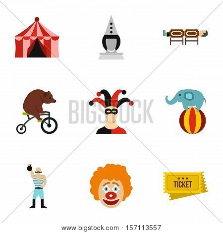 Circus performance icons set. Flat illustration of 9 circus performance vector icons for web
