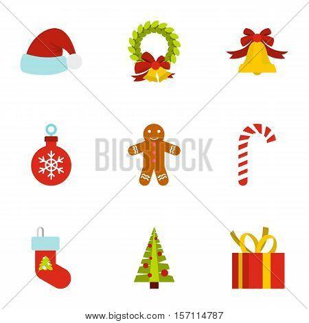 Christmas icons set. Flat illustration of 9 christmas vector icons for web