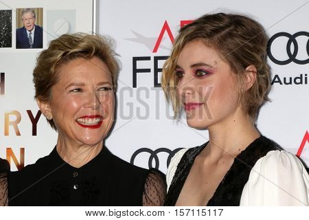 LOS ANGELES - NOV 16:  Greta Gerwig, Annette Bening at the A Tribute To Annette Bening And Gala Screening of