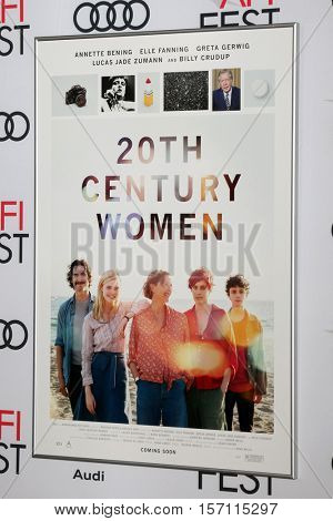 LOS ANGELES - NOV 16:  20th Century Women Poster at the A Tribute To Annette Bening And Gala Screening of