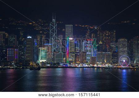 HONG KONG, CHINA - FEB 2, 2016: Night view of Victoria Harbour. Victoria Harbour is natural landform harbour situated between Hong Kong Island and Kowloon