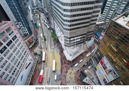 HONG KONG, CHINA - FEB 3, 2016: (top view) Street in city. Hong Kong is one of largest business centers in Asia and around world, it has built more than 1.3 thousand skyscrapers