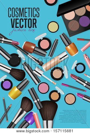 Cosmetics product presentation poster. Makeup accessories set. Cosmetics promotion flyer with date and time. Cosmetics poster. Brushes, powder palettes, lipstick, eye pencil, nail polish. Cosmetics concept design for cosmetics ads, beauty salon, shop.
