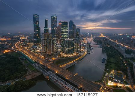 MOSCOW, RUSSIA - AUG 3, 2016: Skyscrapers of Moscow City business complex at morning. Moscow International Business Center Moscow City includes 20 futuristic buildings