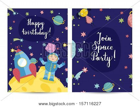 Happy birthday cartoon greeting card on space theme. Astronaut and rocket on moon, stars, planets, comets, aliens vector illustration on blue background. Bright invitation on childrens costumed party