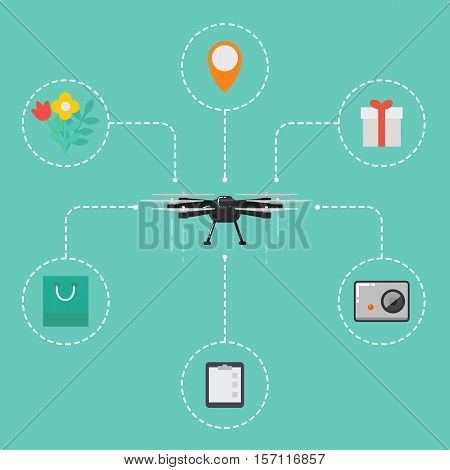 Drone technology concept with remotely controlled flying robot vector illustration. Multicopter with accessories. Unmanned aerial vehicle. Drone aircraft in flat design. Modern flying device.