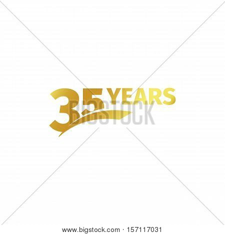 Isolated abstract golden 35th anniversary logo on white background. 35 number logotype. Thirty-five years jubilee celebration icon. Birthday emblem. Vector illustration