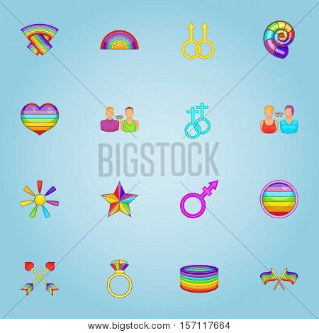 LGBT icons set. Cartoon illustration of 16 LGBT vector icons for web