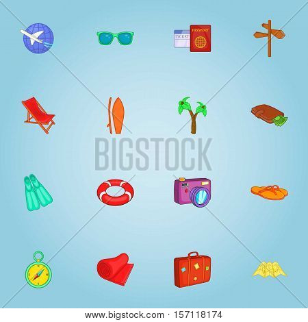 Tourism icons set. Cartoon illustration of 16 tourism vector icons for web
