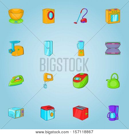 Home appliances icons set. Cartoon illustration of 16 home appliances vector icons for web