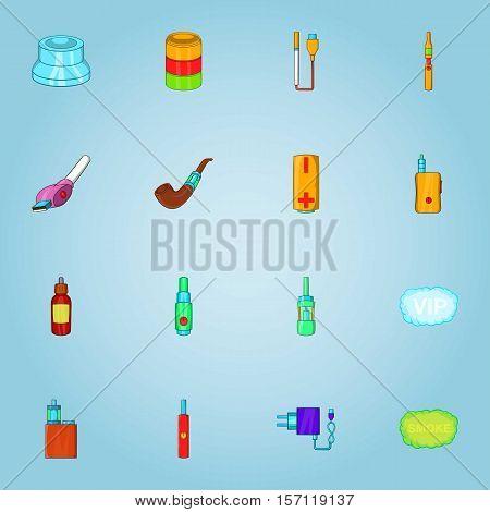 Electronic cigarette icons set. Cartoon illustration of 16 electronic cigarette vector icons for web