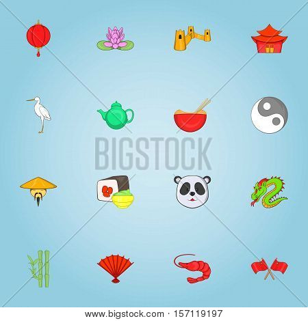 China icons set. Cartoon illustration of 16 China vector icons for web